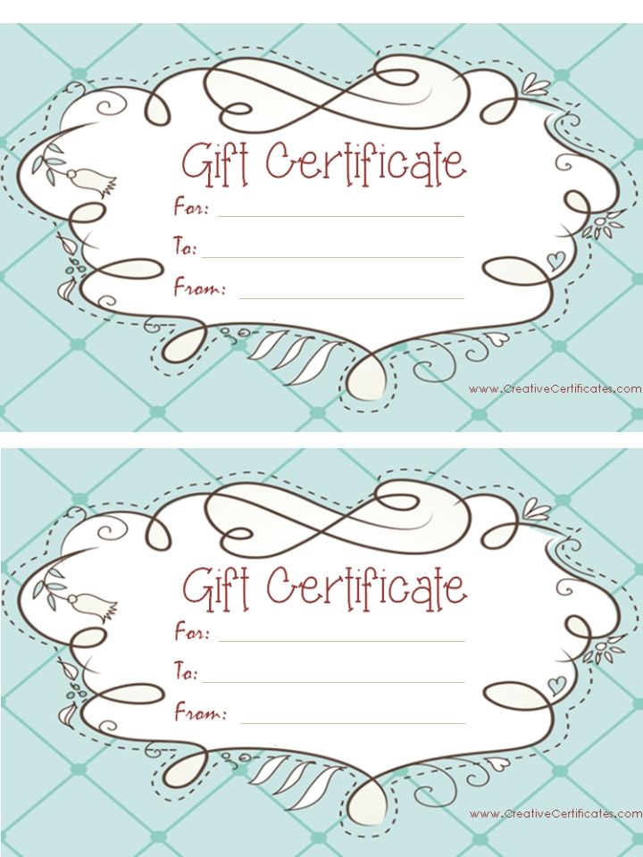 Light Blue Gift Certificate Template With A Cute Design Marketing