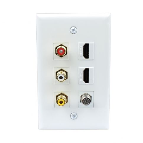 Combined 3xrca 2xhdmi And 1xcoax Cable Tv Port Wall Plate Plates On Wall Wall Plates