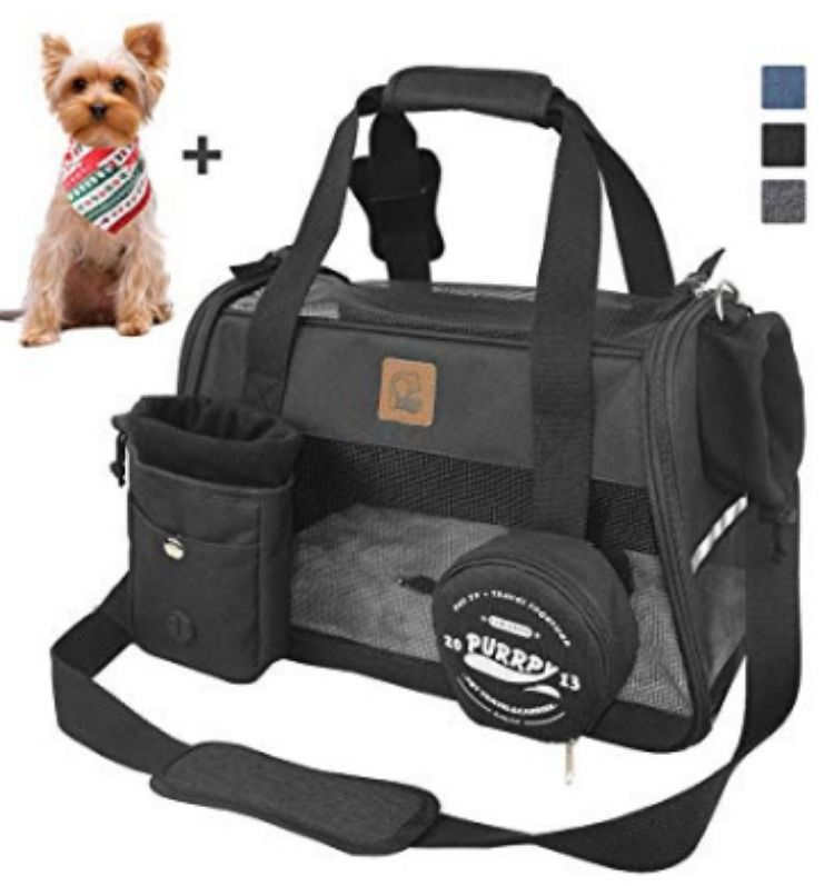 Purrpy Soft Sided Pet Carrier Portable Cat Carrier Handbag Airline Approved Small Dog Travel Bag Dog Travel Bag Pet Carriers Dog Travel