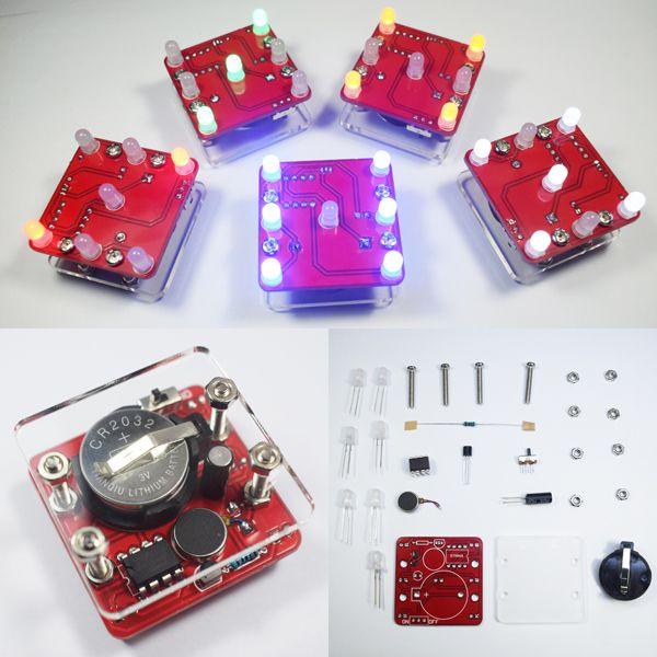 US$8.88 3Pcs Geekcreit® DIY Shaking Green LED Dice Kit With Small Vibration Motor