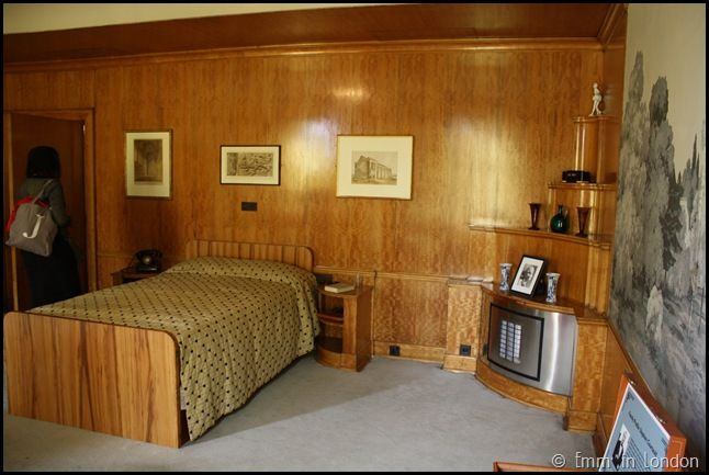 Stephen's bedroom was certainly more masculine, with wood panelling and sensible decor.