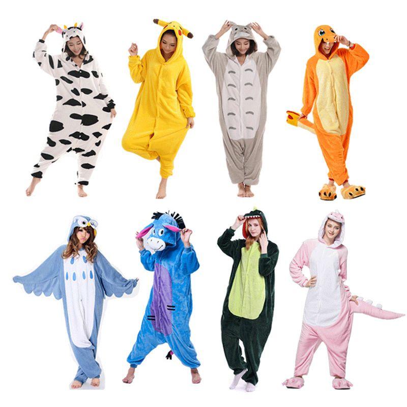 Adult animal one piece kigurumi pajamas hooded sleepwear