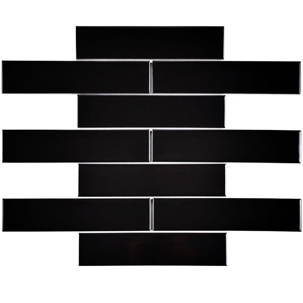 Merola Tile Metro Soho Glossy Black 1 3 4 In X 7 3 4 In Porcelain Floor And Wall Subway Tile 1 Sq Ft Pack Fmtshgb The Home Depot Ceramic Wall Tiles Porcelain Flooring Porcelain Mosaic Tile