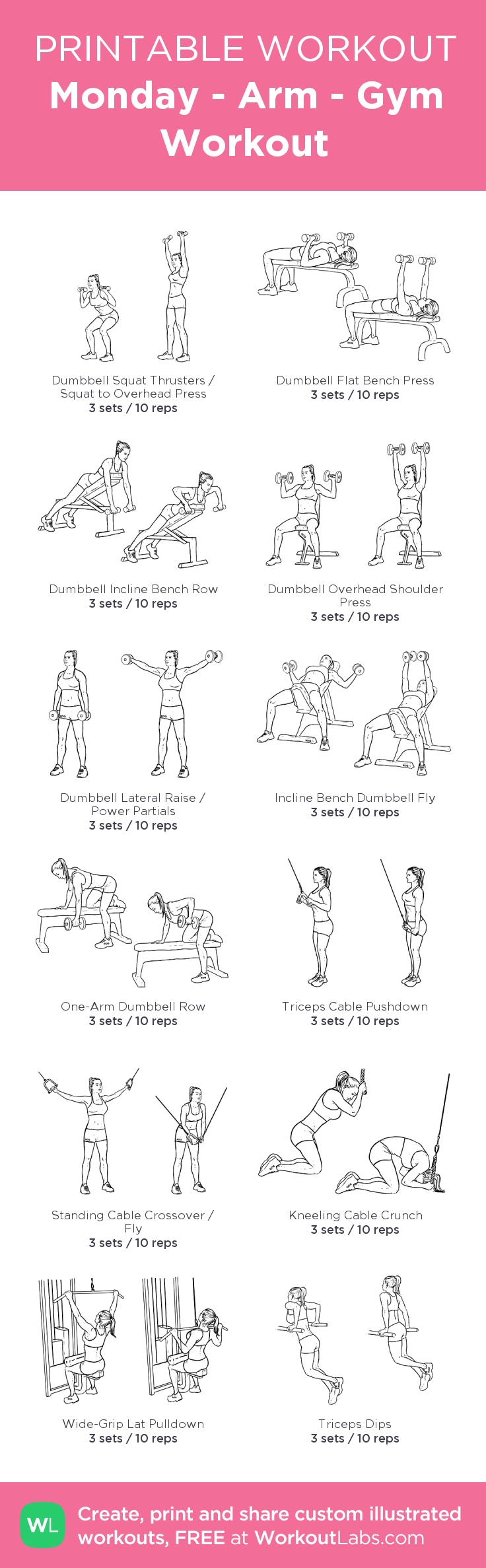 monday arm gym workout my visual workout created at click through to. Black Bedroom Furniture Sets. Home Design Ideas