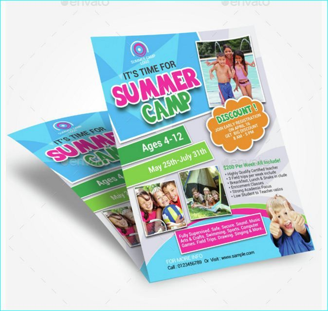 Summer Camp Flyer - Party Flyer Templates For Clubs Business - Summer Camp Flyer Template