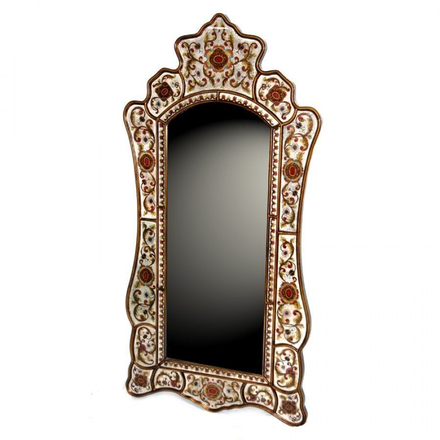 1 575 30 Quot H Wall Mirror Glass Decorated Frame