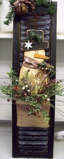 Snowman Shutter Timer Taper 22 Christmas Wood