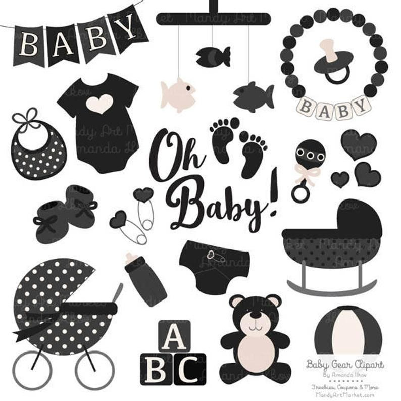 Premium Oh Baby Clipart Vectors Set In Black Black Black Etsy New Baby Products Baby Shower Scrapbook Baby Clip Art