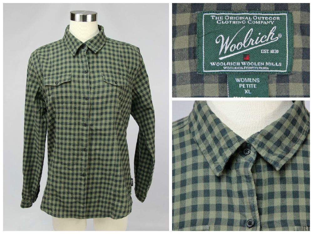 Woolrich Women's Size X-Large Petite Olive Green Heirloom Flannel Check Shirt #Woolrich #ButtonDownShirt #Casual