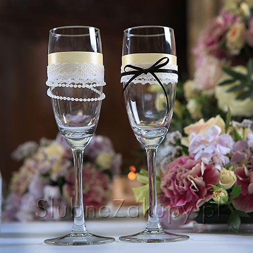 Kieliszki Do Szampana Kolekcja Vintage 2 Szt Slub Wesele Sklepslubny Slubnezakupy Vintage Wedding Wedding Glasses Champagne Flute Champagne