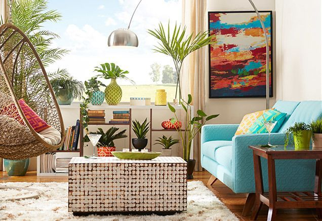 Love this bright bungalow - the texture and hanging chair. I need this coffee table!