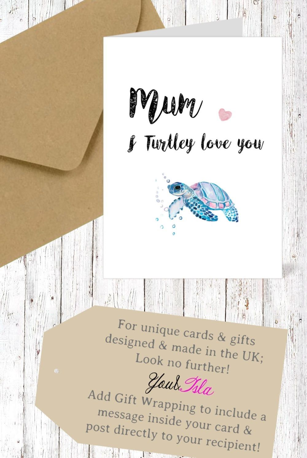 NANNY Mum I Turtley Love You Mothers Day CARD Turtle Card Nanny Wife Birthday Friend Friendship Valentines