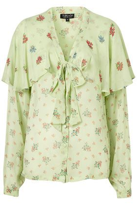 Cape Sleeve Pussybow Blouse