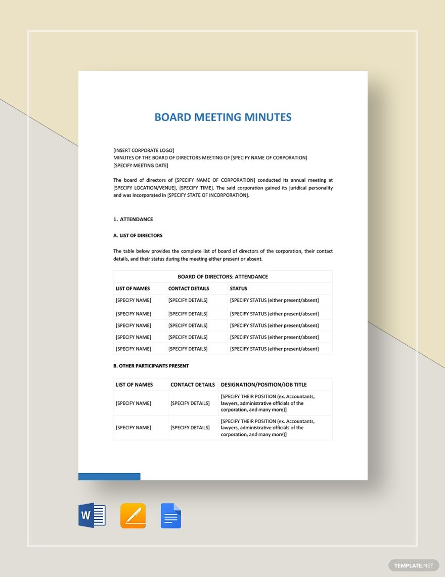 Board Meeting Minutes Example Template Word Doc Apple Mac Pages Google Docs Board Meeting Word Doc Templates Board meeting minutes template doc