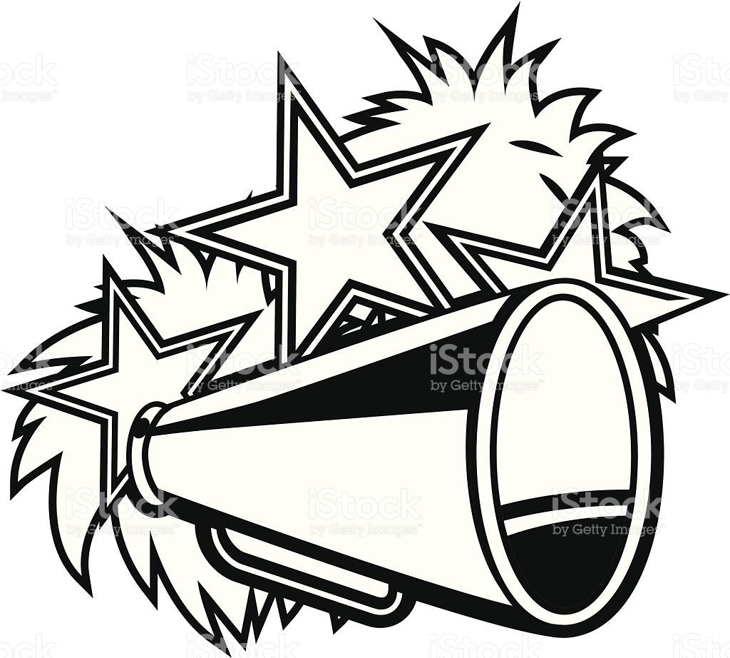 black and white cheerleader pompoms and megaphone cheer cricut rh pinterest nz free cheerleading clip art graphics free cheerleading clipart borders