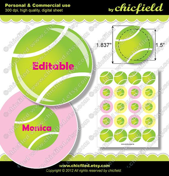 "Editable JPG images Girl Tennis Ball 1.837"" circles for 1.5"" button maker Cute tennis player girl Printable Digital Collage Sheet cf00026-1 on Etsy, $3.90"