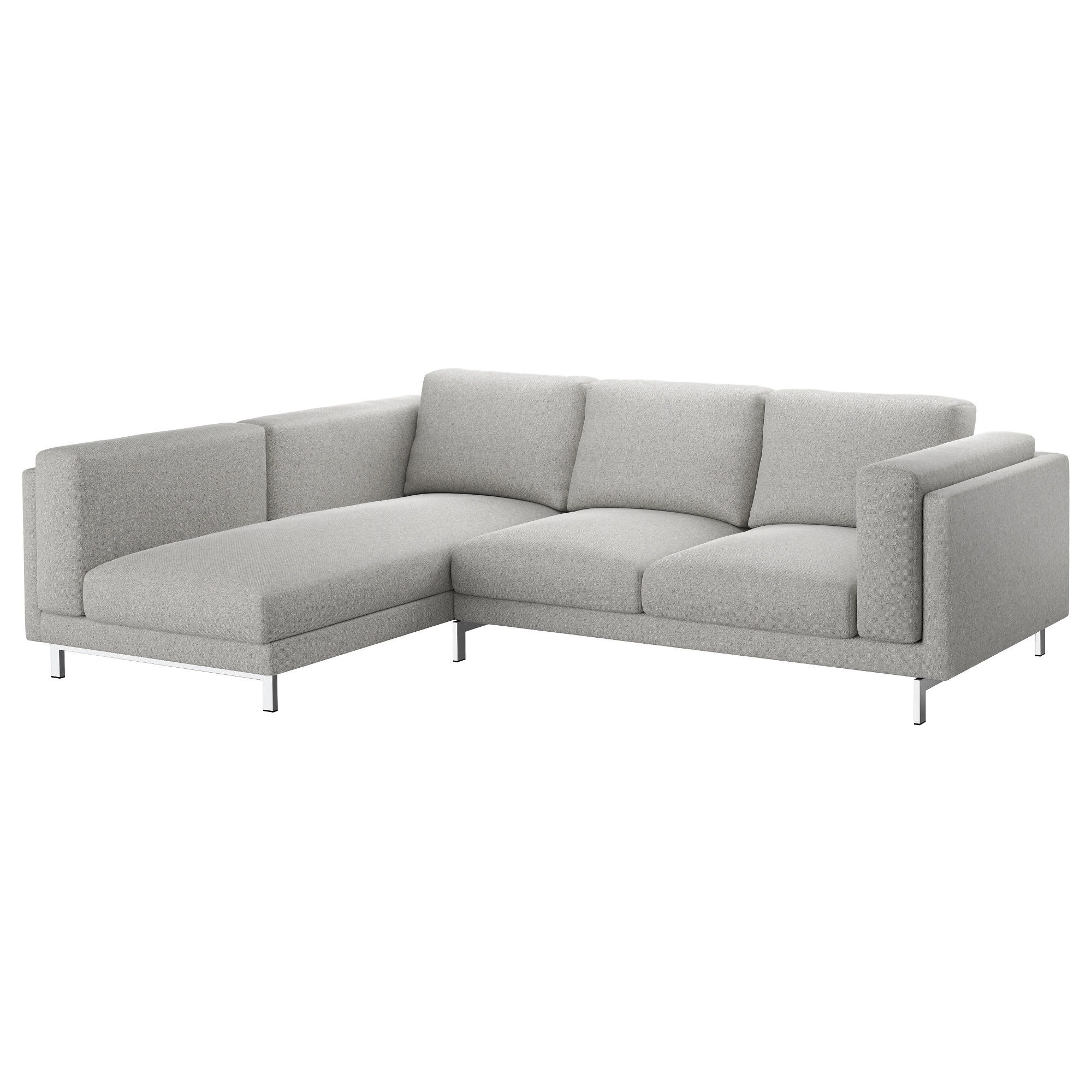 NOCKEBY Sofa with chaise left Tallmyra Tallmyra chrome plated