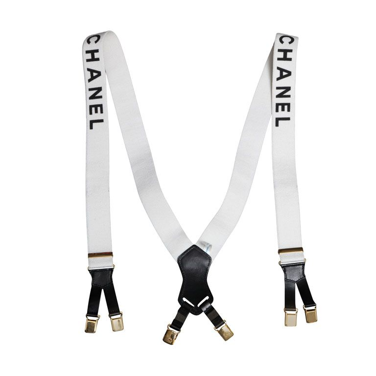 0ed40e000 Chanel suspenders with logos white in 2019