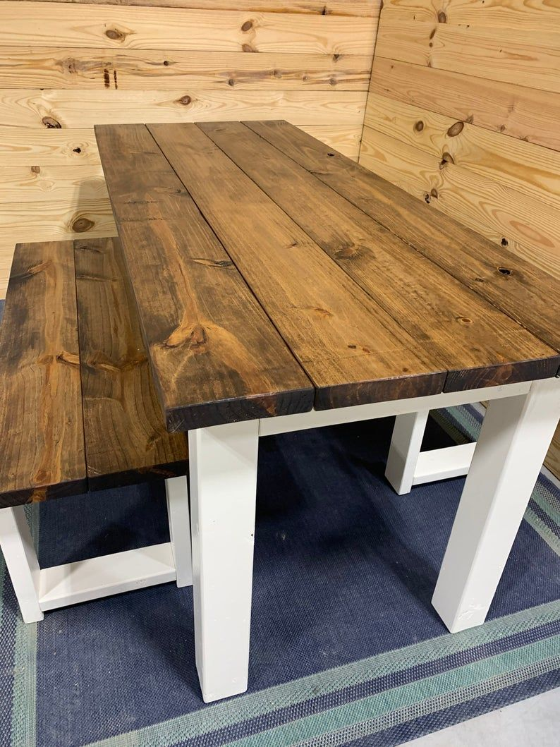 Rustic Narrow Farmhouse Table Set with Benches Provincial