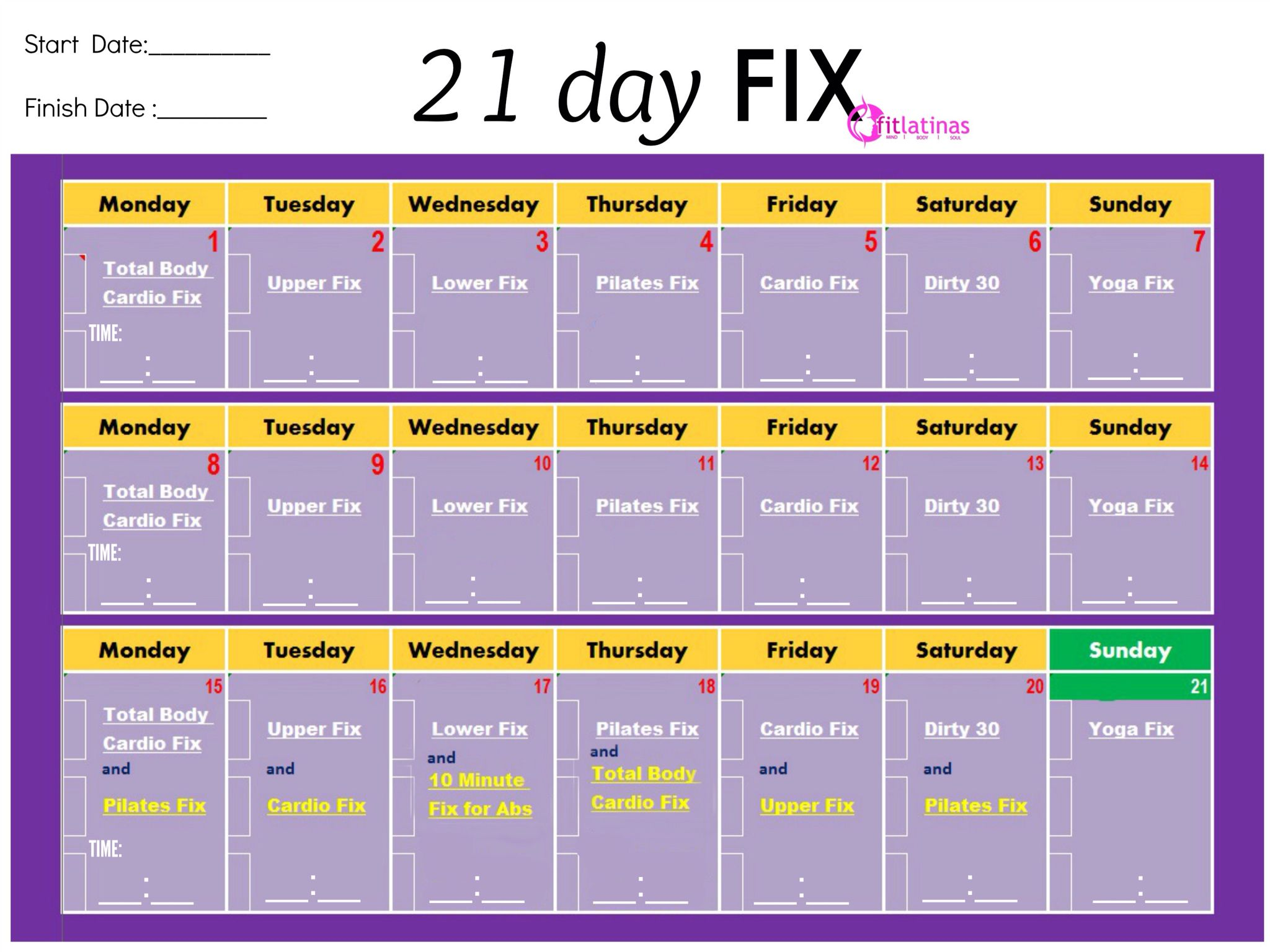 picture relating to 21 Day Fix Workout Schedule Printable referred to as A different uncomplicated printable chart Exercise 21 working day mend workout routines