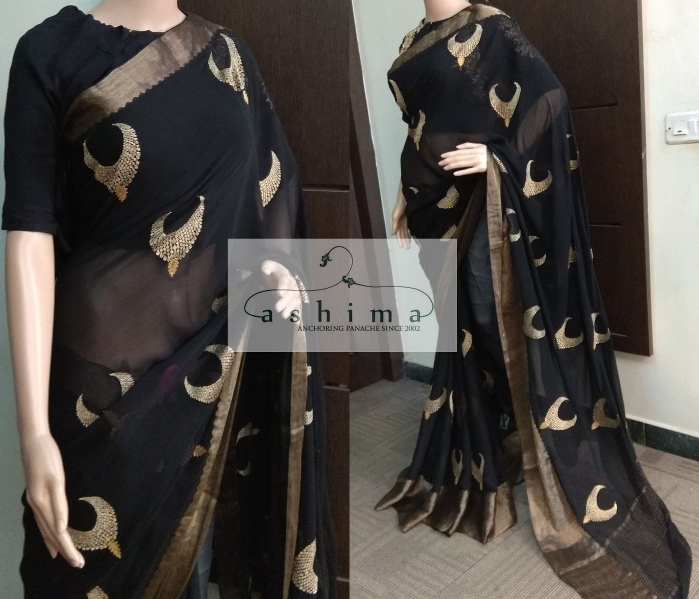 Code price inr embroidered georgette saree with