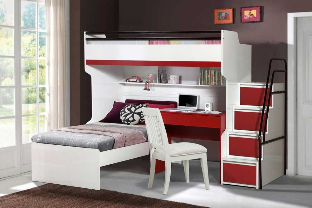 Bueno Cherry Red Modern Bunk Bed Set With Children S Bed And A
