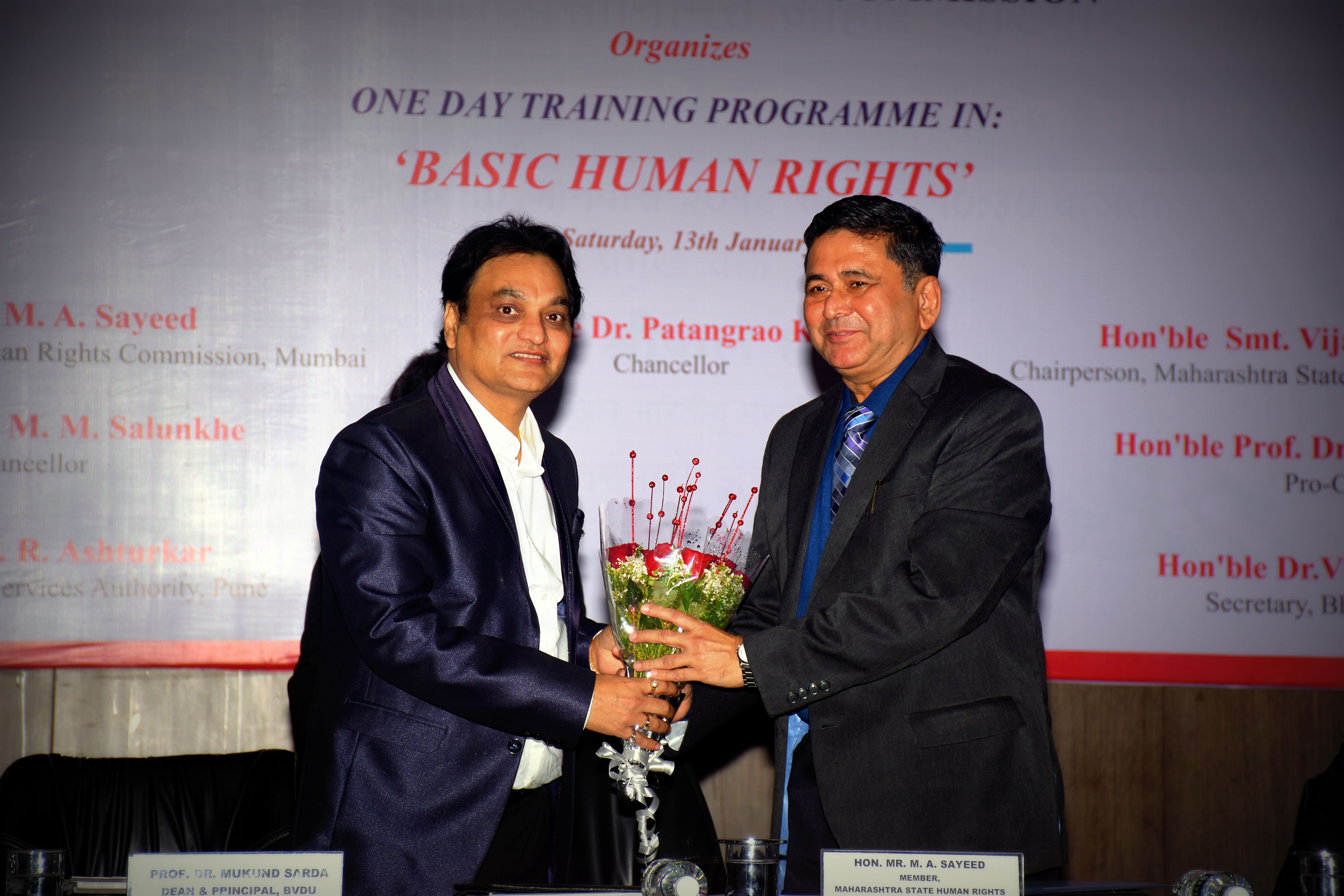 Hon Ble Mr M A Sayeed Member Maharashtra State Human Rights Commission Was At New Law College Pune To Inaugurate One Day Training Programme In Basic Human