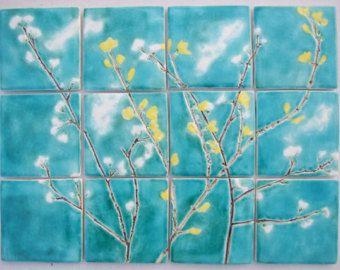 12 printemps fleur de carreaux de céramique, turquoise de ...