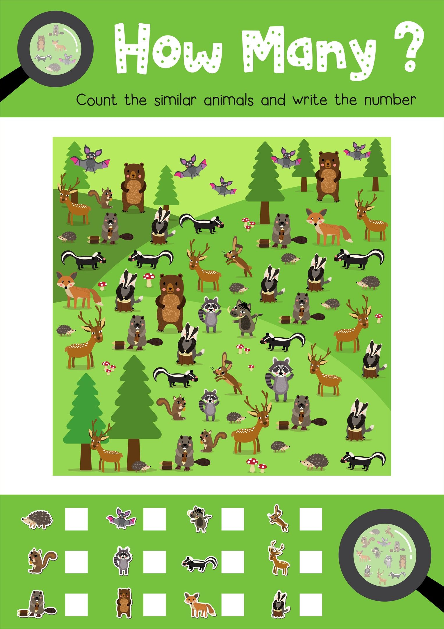 How Many Animals Do You See Worksheet