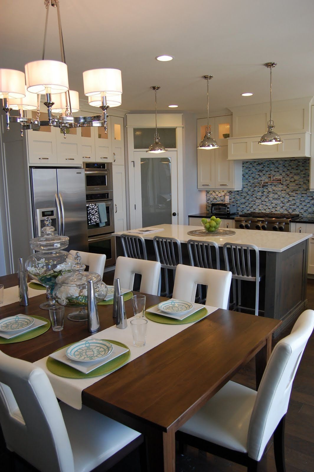 Kitchen Lighting Idea Pendants And Table White Cabinets With Dark Grey Island