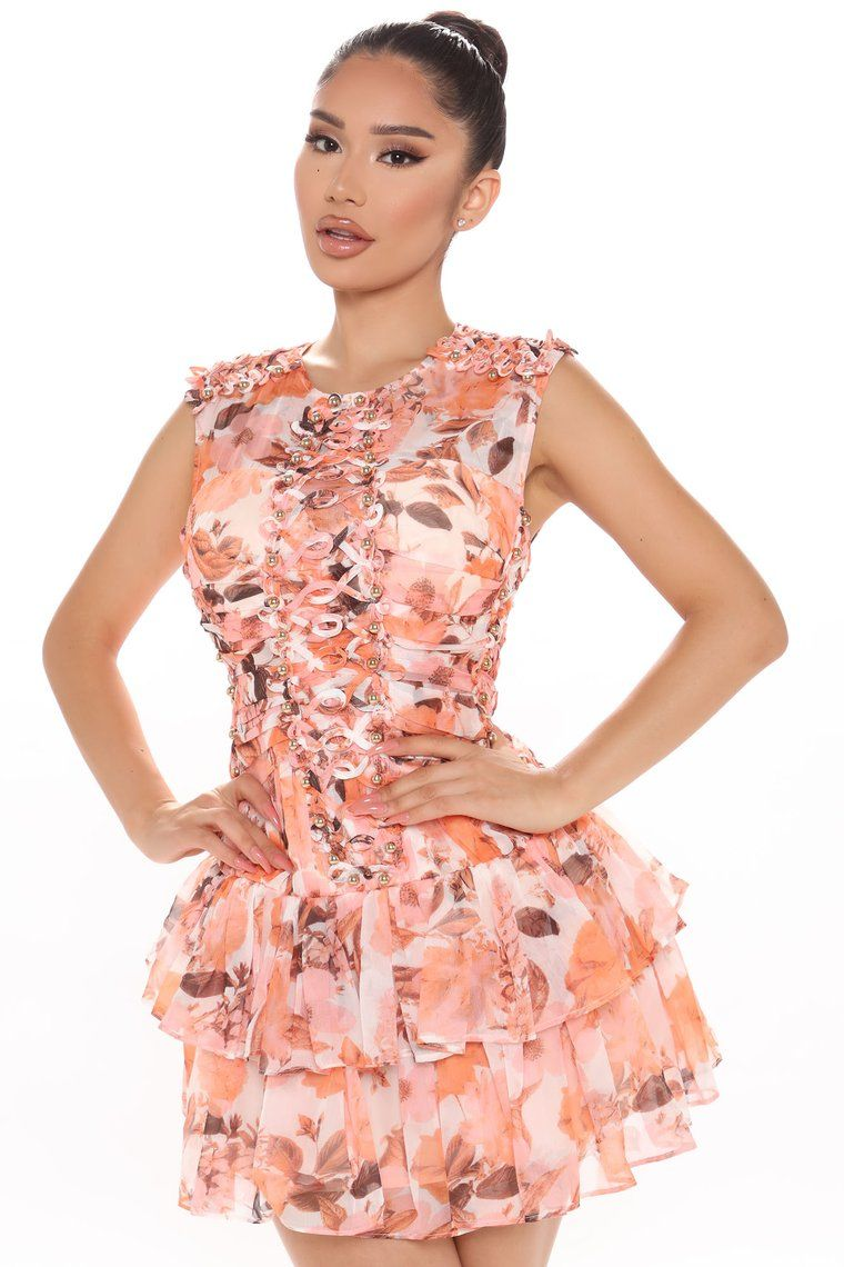 Blooming Time Floral Mini Dress Coral Combo Mini Dress Fashion Fashion Nova Dress [ 1140 x 760 Pixel ]
