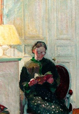 """Paris Interior with Woman Reading (detail).  Early 20th century.  Josephus Wilhelmus """"William"""" van Hasselt (1882-1963).  Oil on canvas.  Originally from the Netherlands, van Hasselt worked from 1905 in France. In Paris, his specialty was posters, possibly out of necessity.  Van Hasselt also painted and drew portraits, landscapes, still lifes, and interiors."""