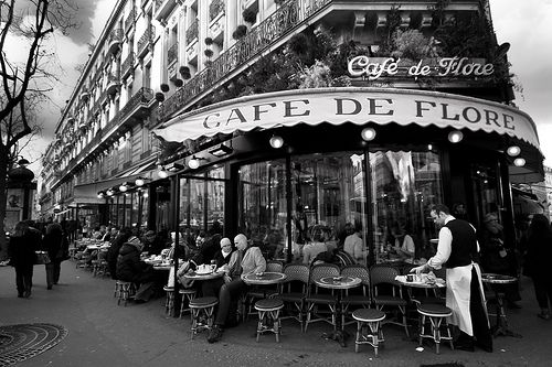 Cafe de Flore at the corner of Boulevard Saint-Germain and Rue St. Benoit, in the 6th arrondissement, is one of the oldest and the most prestigious coffeehouses in Paris.