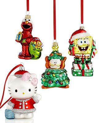 Kurt Adler Christmas Ornaments, Glass Cartoon Characters Collection - Kurt Adler Christmas Ornaments, Glass Cartoon Characters Collection