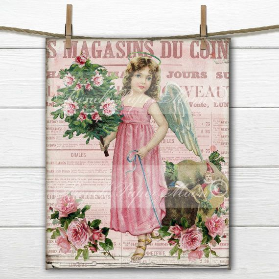 Victorian Shabby Chic Pink Angel Digital with roses and french