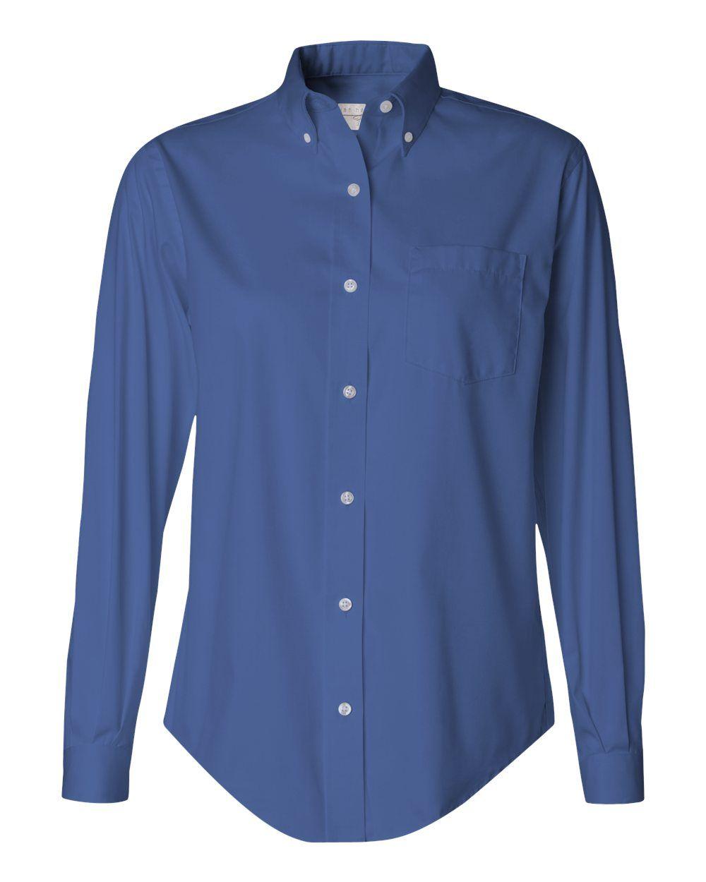 English Blue Ladies Pinpoint Oxford Shirt From Van Heusen - 13V0110