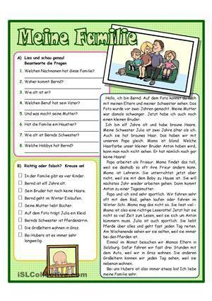 Lesen<br /> Arbeitsblatt zum Textverständnis<br /> mit 2 ...