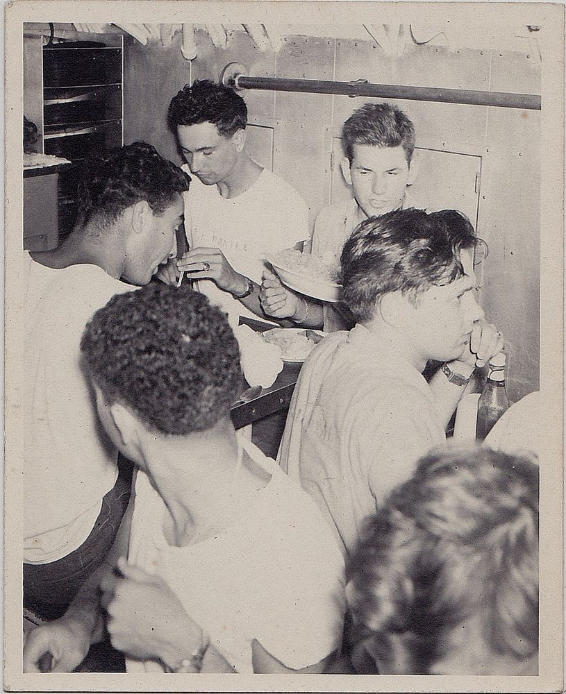 Old Antique Vintage Photograph Bunch Of Young Men Sitting At Tables Eating