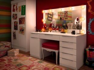 Penteadeira com Painel Espelho 1 Porta 7 Gavetas - Madesa Camarim