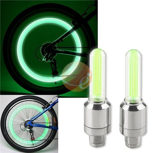 2PCS Green LED Flash Tyre Wheel Valve Cap Light for Car Bike bicycle Motorbicycl