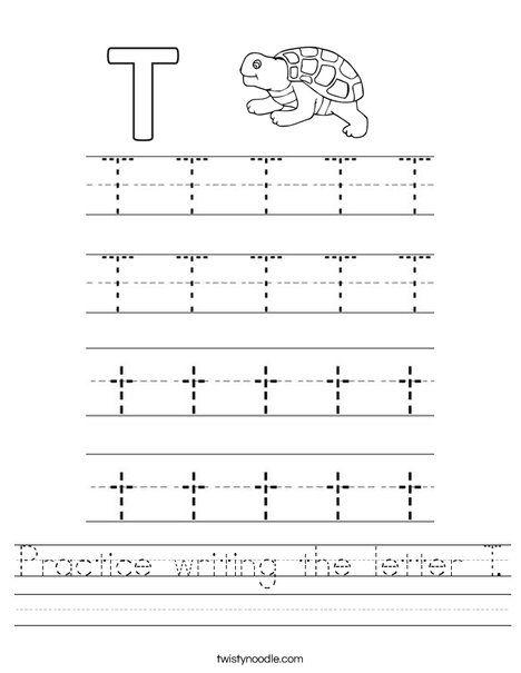 practice writing the letter t worksheet twisty noodle for mimi letter t worksheets. Black Bedroom Furniture Sets. Home Design Ideas