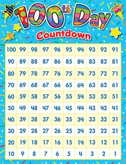 image about 100 Day Countdown Printable called 100th Working day Countdown Chart 100th Working day Things to do Working day