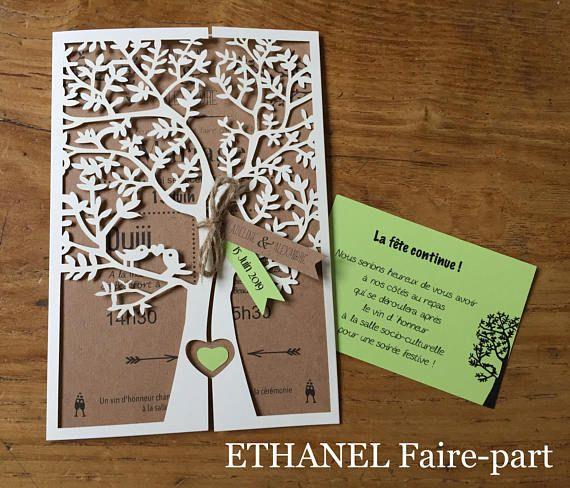 Faire part mariage Arbre ciselé, mariage theme nature, arbre decoupe laser, lot de 10