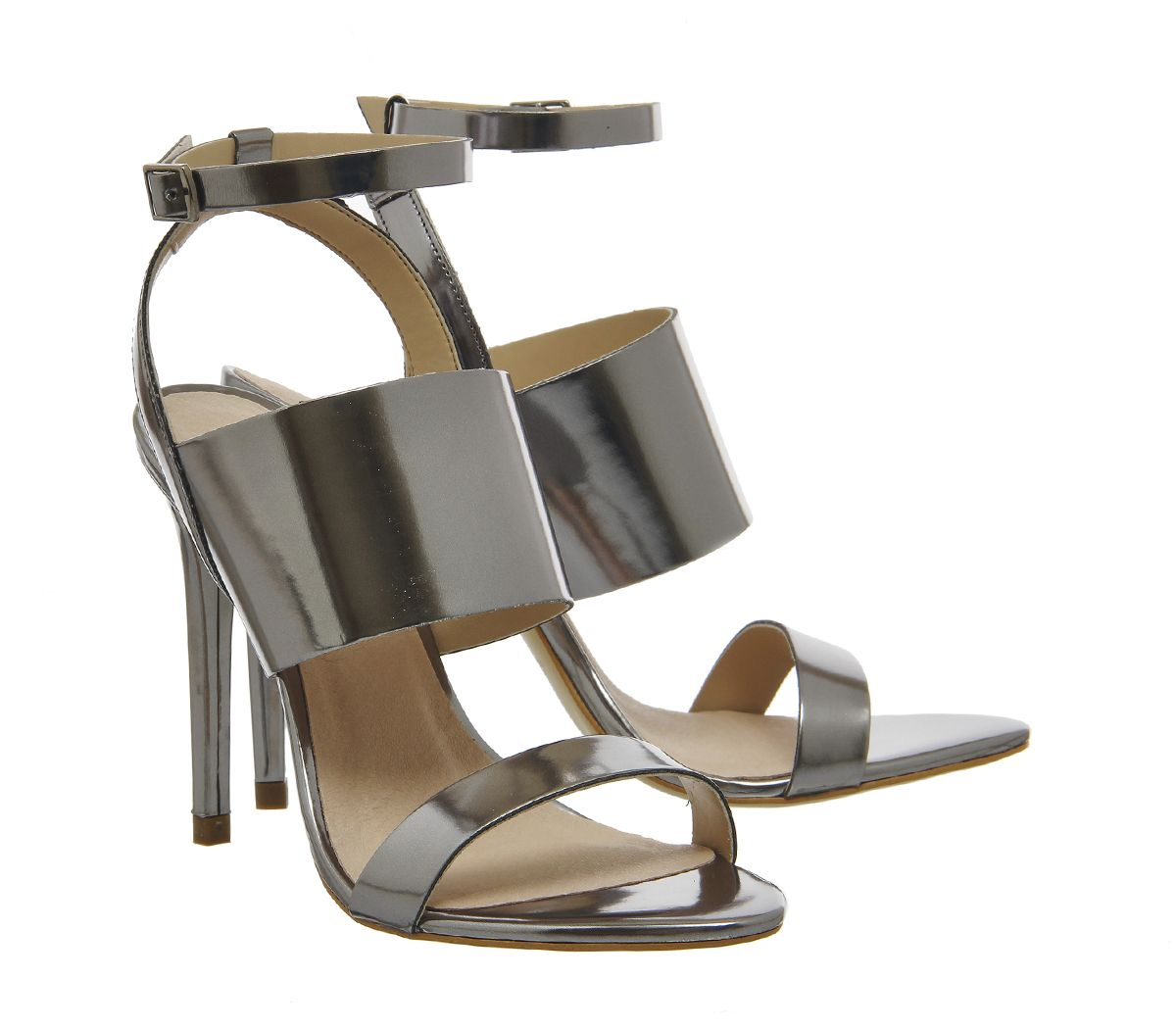 91f6cc1e9e33 Buy Pewter Metallic Office Anchor 3 Strap Heels from OFFICE.co.uk ...
