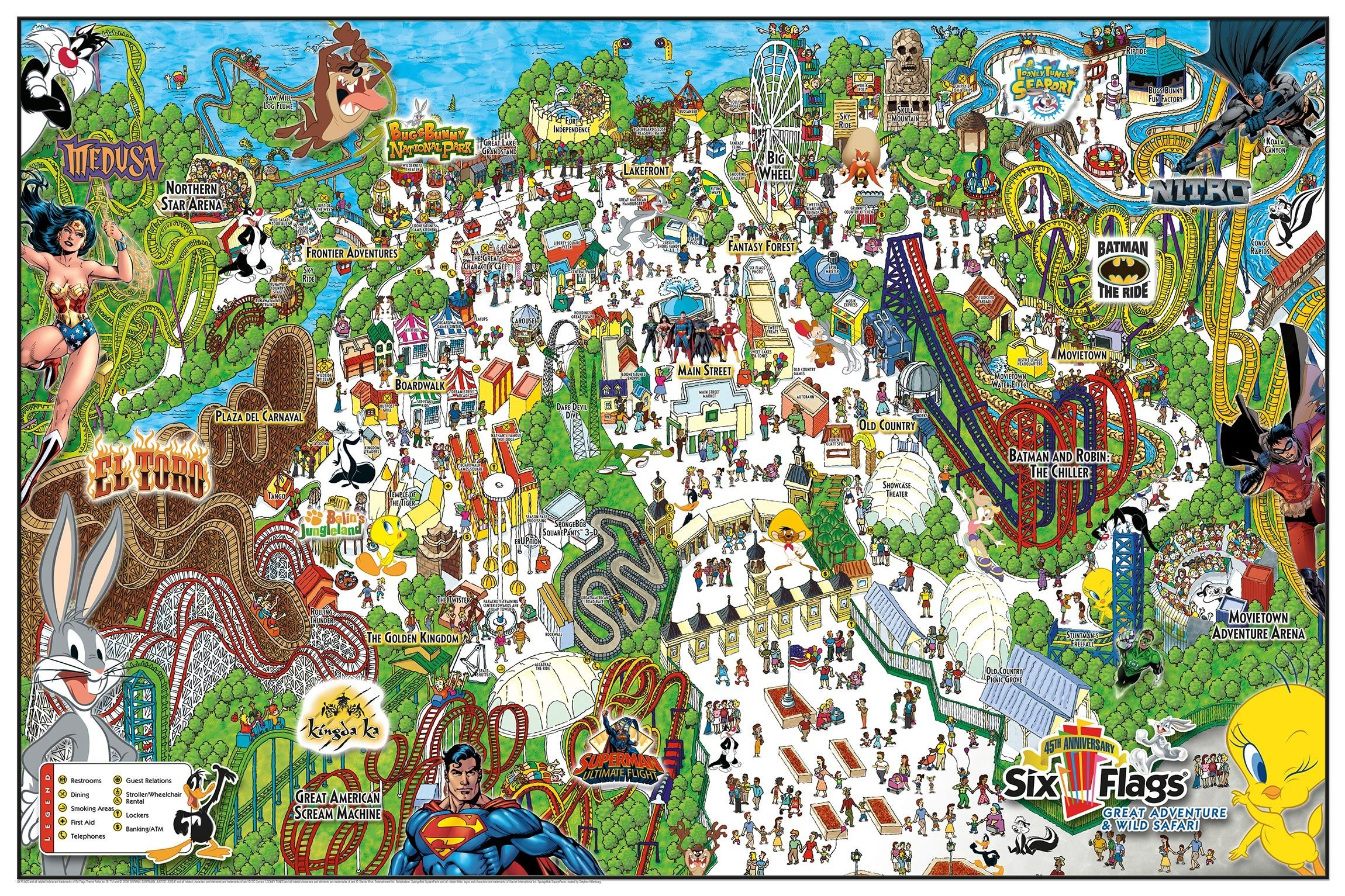 Six Flags Great Adventure Wild Safari Map Six Flags Great Adventure Cartoon Map Adventure Map