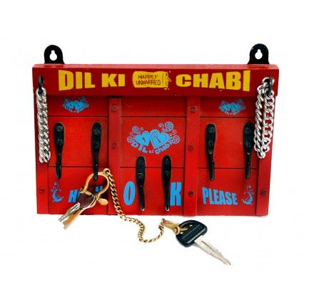 "Dil ki Chabi:   Dil ki Chaabi is the most romantic way to keep keys. It is often suggested by counsellors to couples about to break up.The very act of hanging keys on it becomes a ""quality time"" spending ritual.    Size: 9"" x 7"""