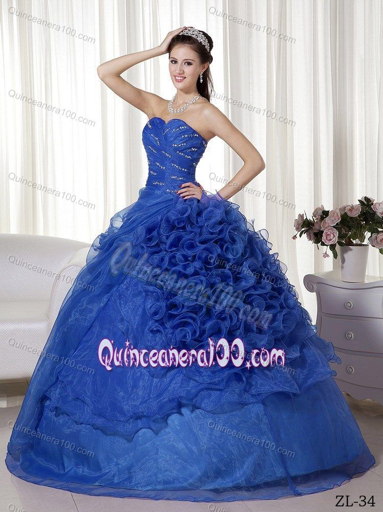 4c97e2ca81c Beaded Sapphire Blue Dress for Quince with Rolling Flowers ...