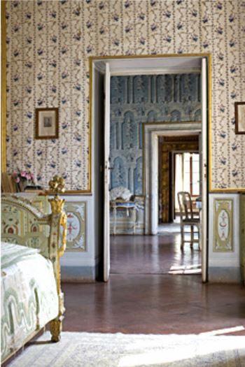 Alfieri's Bedroom - Villa di Geggiano, near Siena Italy. Original trompe l'oeil wallpaper & furniture date to the 1770's