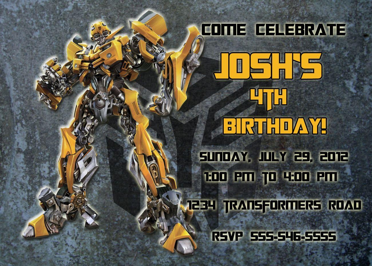 transformer birthday invitations for