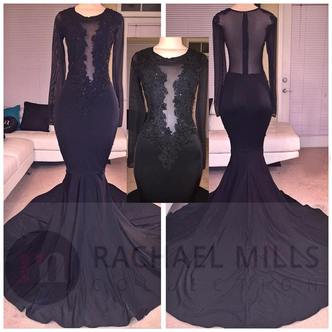 Pretty sheer black african prom dresses mermaid long sleeves